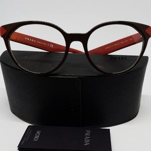 Prada RX New Authentic Eyeglasses (brown/burgundy)